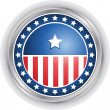 Vector image of a badge with stars and stripes — Stock Vector