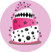 Pink cake — Vector de stock