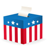 Vector image of a ballot box with stars and stripes — Stock Vector