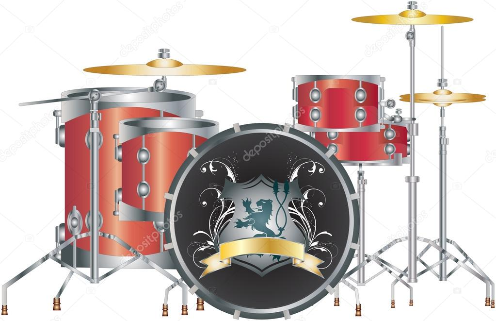 Red Drum Set Clipart Set of a Full Red Drum Set on White With Lion Logo Vector by Kozzi2