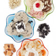 Stock Photo: Top view image of three assorted flavors of ice cream