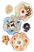 Top view image of three assorted flavors of ice cream — Stock Photo