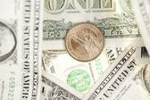 Dollar coin and banknote — Stock Photo