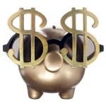Golden piggy bank with dollar glass — Stock Photo #13390724