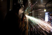 Image of a welder cutting metal — Stock Photo