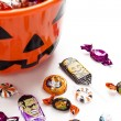 Overflowing halloween bucket — Stock Photo