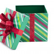 View of empty christmas gift box - Foto Stock
