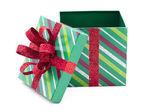вид пустой рождественские подарочная коробка — Стоковое фото