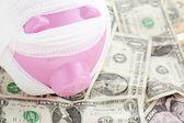 Bandaged piggy bank — Stock Photo