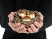 Businessman holding nest with gold eggs — Stock Photo
