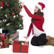 Lady putting a ball decoration in christmas tree — Stock Photo