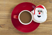 Santa claus decoration and coffee — Stock Photo