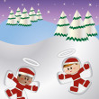 Kids making snow angel vector — Stock Photo