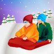 Couple playing on snow vector — Stock Photo
