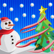 Christmas background with snowman and christmas tree vector — Stock Photo #13525210