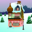 Clip art house on snow — Stock Photo
