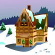 Vector house on winter time — Stock Photo