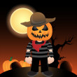 Vector scarecrow at night - Stock Photo