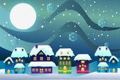 Juletid i en byn vektor — Stockfoto