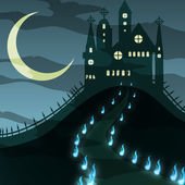 Creepy halloween castle vector — Stock Photo