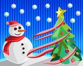 Kerstmis achtergrond met snowman en de kerstboom vector — Stockfoto