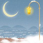 Clip art of the illuminated lamp post — Stock Photo