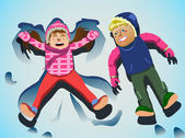 Playing kids on snow clip art — Stock Photo