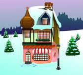 Clip art house on snow — Stock Photo