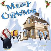 Christmas penguins clip art — Stock Photo