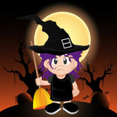 Vector witch holding a broomstick — Stock Photo