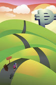 Vector image of a hilly road — Stock Photo