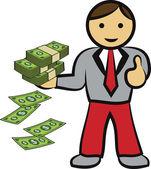 Wektor biznesmen z kasy — Zdjęcie stockowe