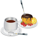 Clip art coffee and cake — Stock Photo