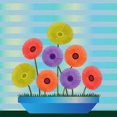 Clip art colorful diasies — Stock Photo