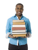Young black man with books — Stock Photo