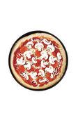 Overhead shot of a pepperoni pizza — Stock Photo