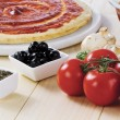 Tomato paste pizza dough — Stock Photo