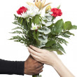 Giving bouquet flowers — Stock Photo