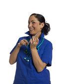 Médico femenino con jeringa — Foto de Stock