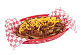 Fries with chili meat sauce and cheese topping — Stock Photo