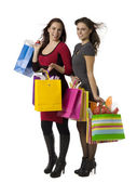 Gorgeous ladies with shopping bags — Stock Photo