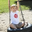 Happy boy swinging on a tyre swing — Foto Stock