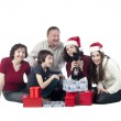 Happy family with gift — Stock Photo #14095029