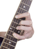 Acorde de guitarra demostrando guitarrista — Foto de Stock