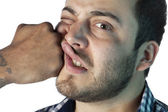 Guy face receiving a punch — Stock Photo
