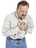 Heart attack sign old man — Stock Photo