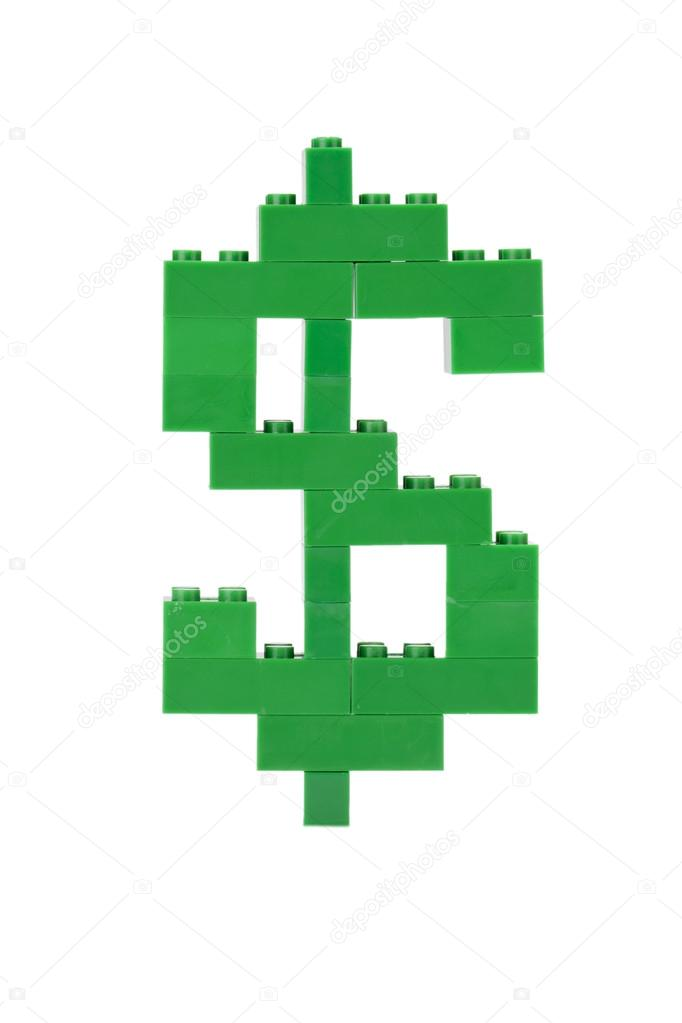 Currency symbol made of green lego blocks — Stock Photo #14091157