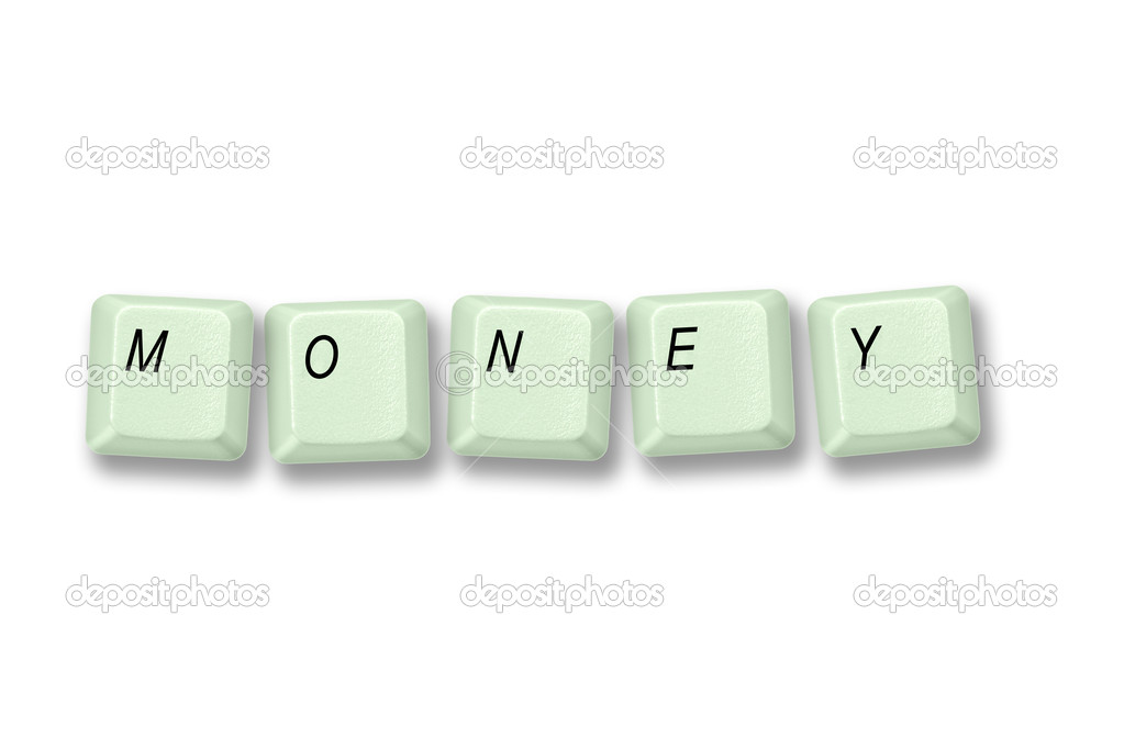 Multiple keyboard keys isolated and arranged to spell the word MONEY on a white background. — Stock Photo #14091390