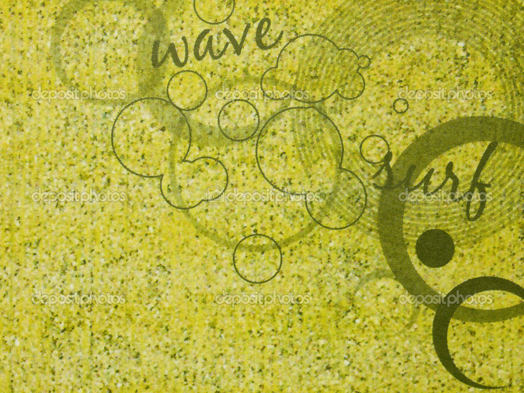 Illustration of green vintage wallpaper with circle and lettering  Stock Photo #14091910