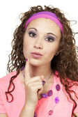 80s dressed girl with her finger on chin — Stock Photo